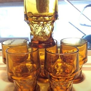 Set of 6 retro Amber Biking Glass glasses